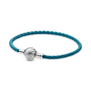 Bilde av Pandora turquoise braided leather bracelet and