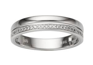 Bilde av Dobbel hvittgull ring med diamanter